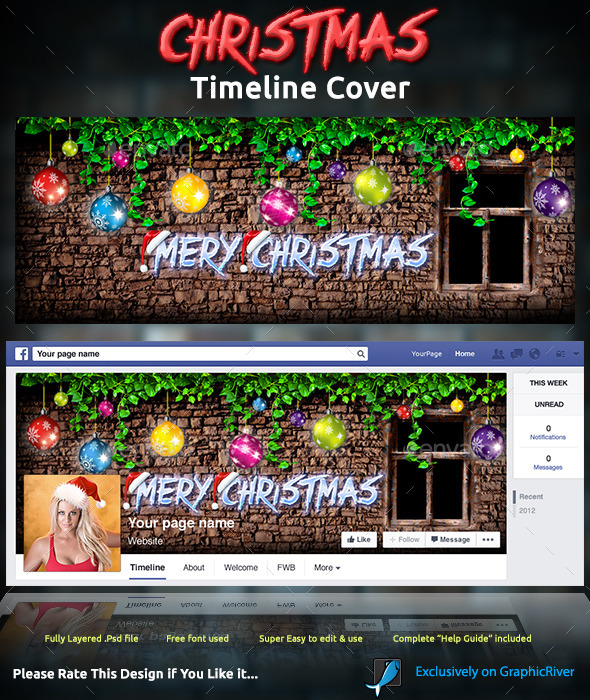 GraphicRiver Christmas Timeline Cover 9713865