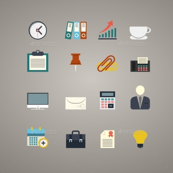 GraphicRiver Business and Office Icons Set 9713916
