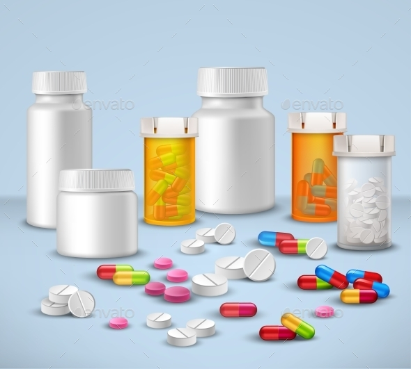 Pill Bottles Set