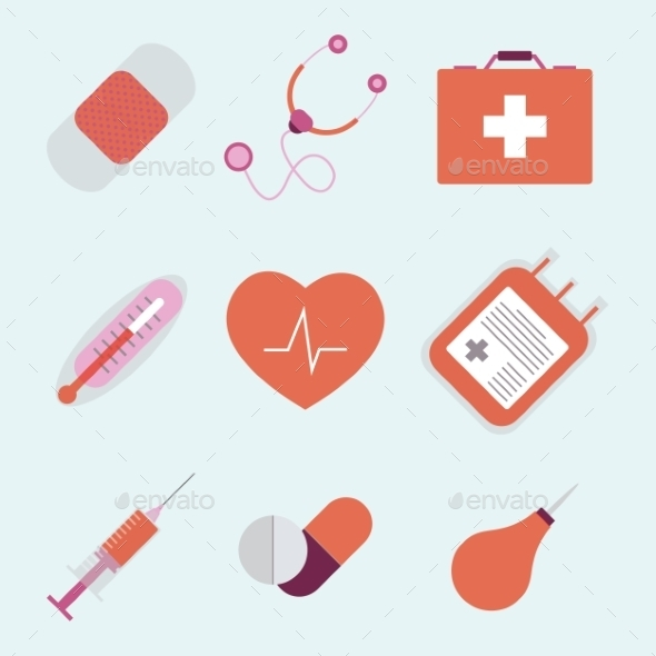 GraphicRiver Decorative Medical Emergency First Aid Kit Symbols 9714153
