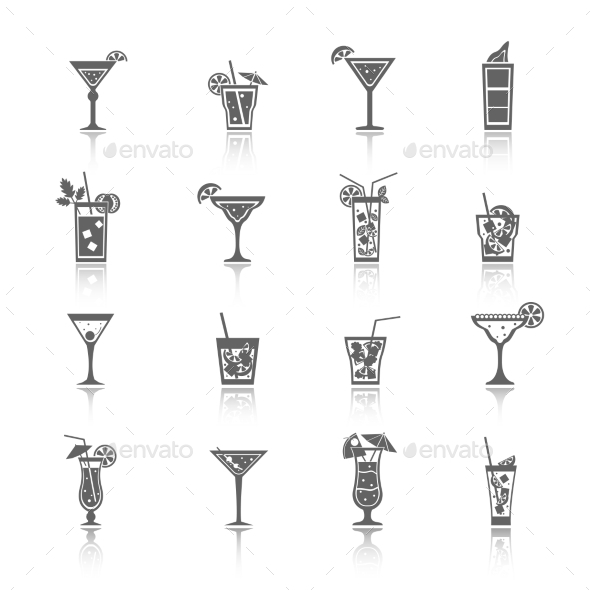 GraphicRiver Alcohol Cocktails Icons 9714158