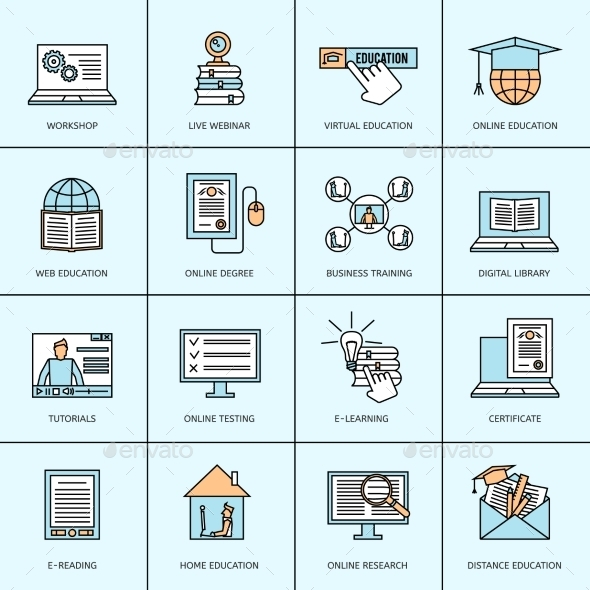 GraphicRiver Online Education Icons Set 9714213