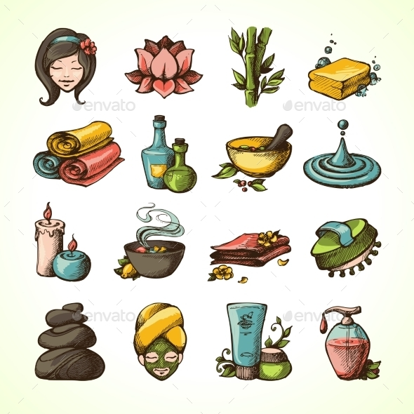 GraphicRiver Spa Sketch Icons Colored 9714217