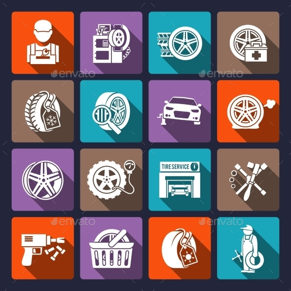 GraphicRiver Tire Service Icons 9714269