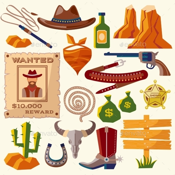 GraphicRiver Cowboy Icons 9714309