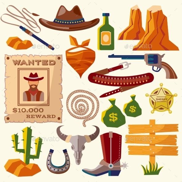 GraphicRiver Cowboy Icons 9714309