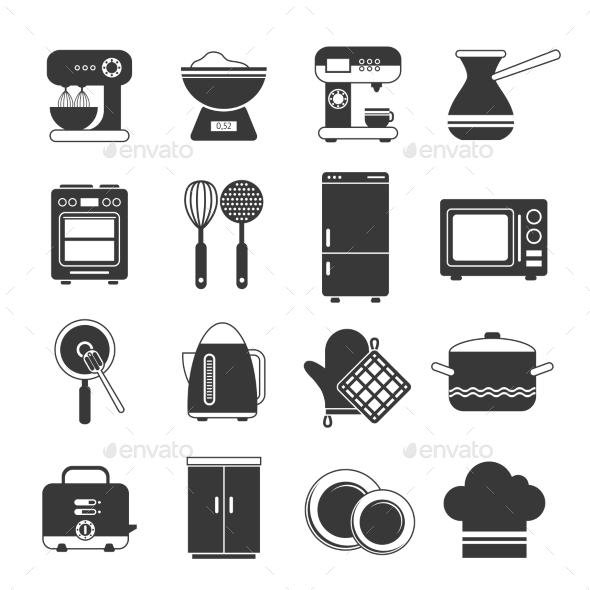 GraphicRiver Kitchen Icons Black And White Set 9714335
