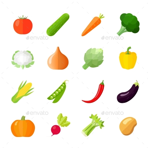 GraphicRiver Vegetables Icons Flat 9714408
