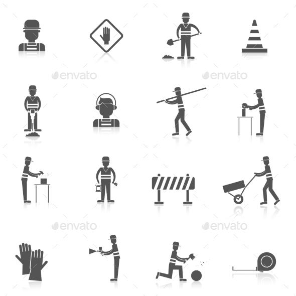 GraphicRiver Road Worker Black Icon 9714619