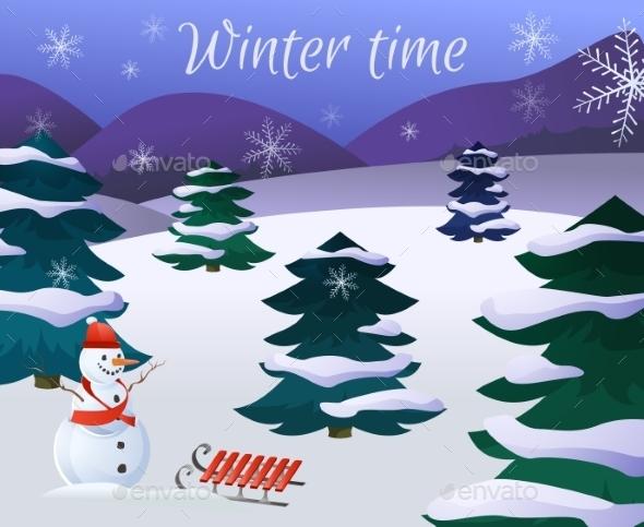 GraphicRiver Winter Landscape Poster 9714631