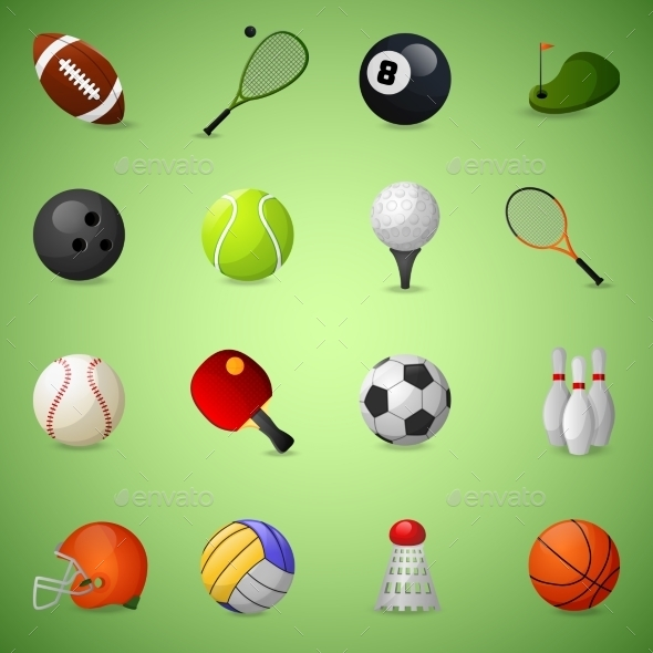 GraphicRiver Sports Equipment Icons Set 9714666