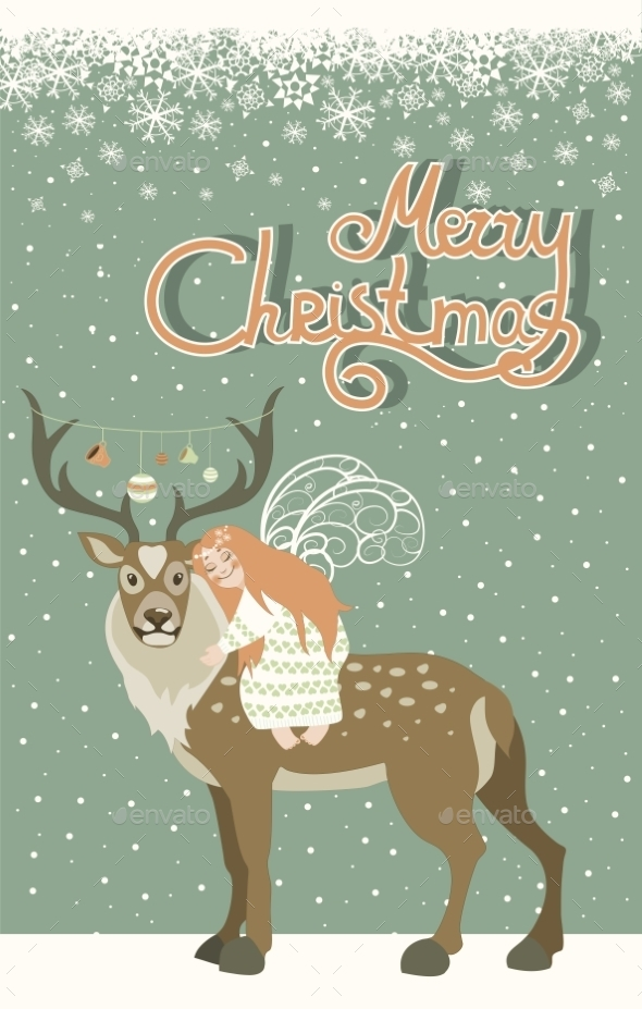 GraphicRiver Angel Hugs Reindeer 9715120