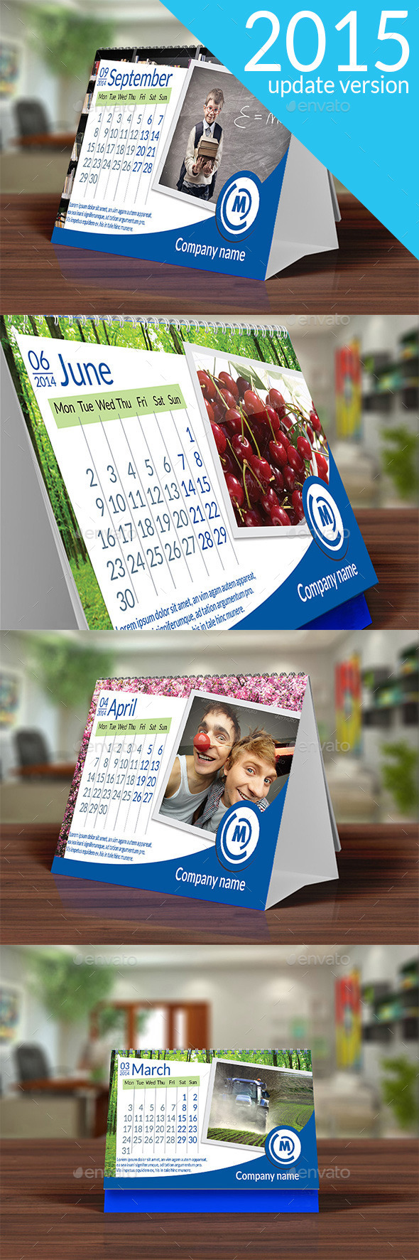Desk Calendar 2015 Blue