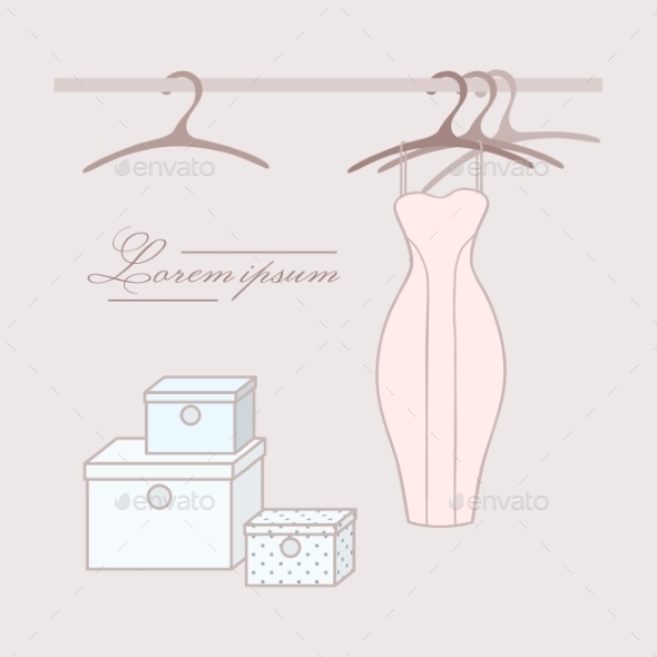 GraphicRiver Dress with Hangers in Wardrobe 9716115