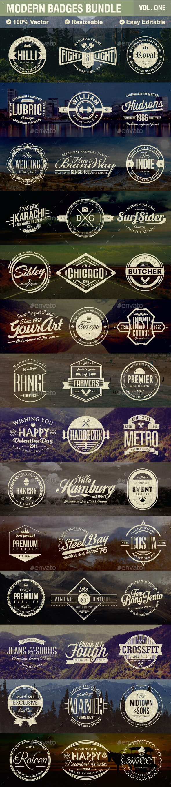 GraphicRiver Modern Badges Bundle 9716265