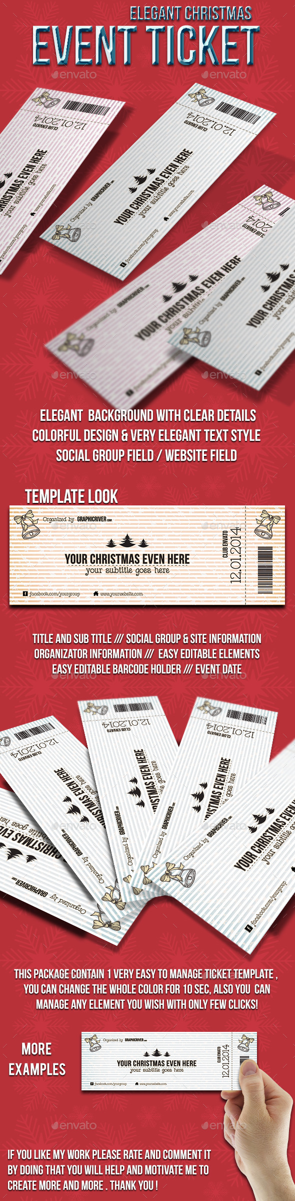 GraphicRiver Elegant Christmas event ticket 9716645