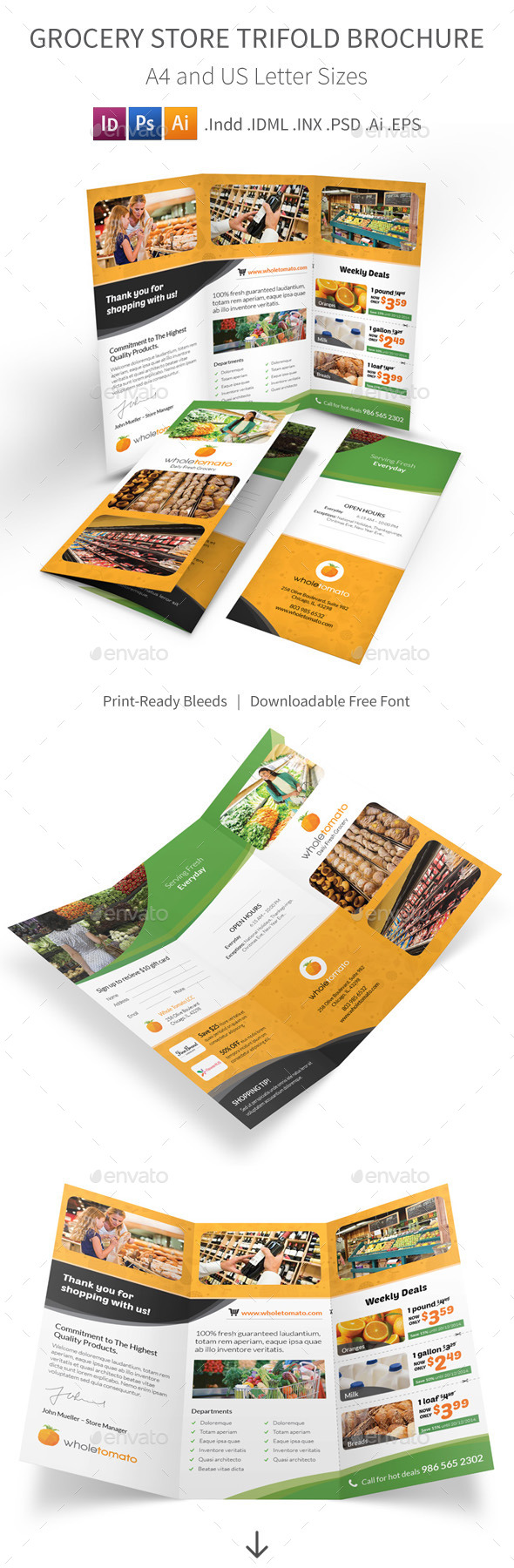 GraphicRiver Grocery Store Trifold Brochure 9717099