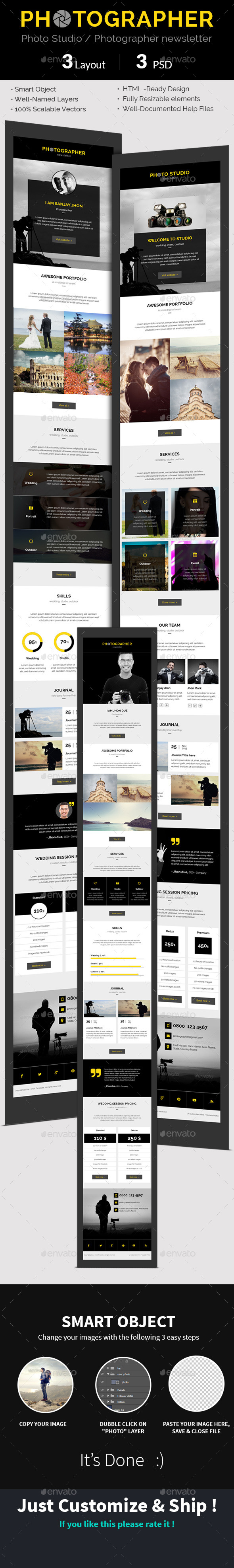 Photographer Photo Studio e-newsletter PSD Templ