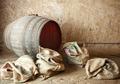 Old barrel with burlap sacks. - PhotoDune Item for Sale