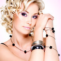 Portrait of the beautiful  woman with curly hairstyle - PhotoDune Item for Sale