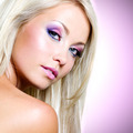 Portrait of the beautiful blond woman with pink makeup - PhotoDune Item for Sale