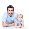 Portrait of cheerful father with baby. - PhotoDune Item for Sale