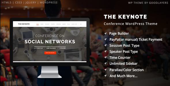 ThemeForest The Keynote Conference Meeting WordPress Theme 9718856