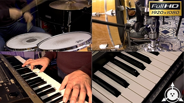 VideoHive Playing on Drums & Synthesizer 4 pack 9718880