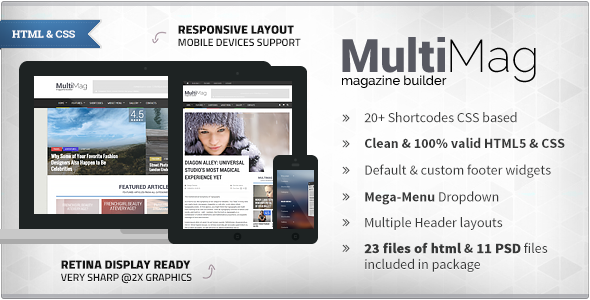 ThemeForest MultiMag Clean & Flat Magazine HTML 9719003