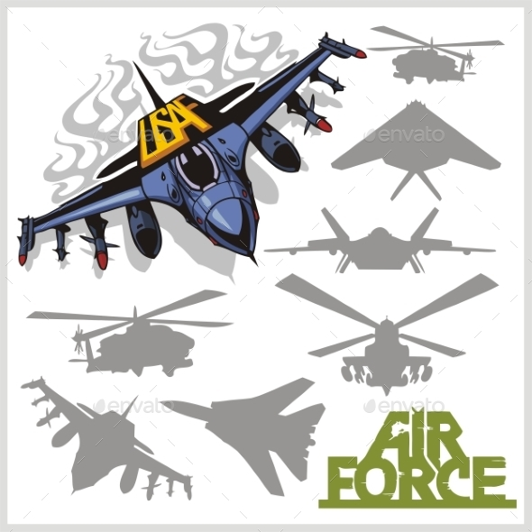 GraphicRiver Air force Silhouettes 9719056