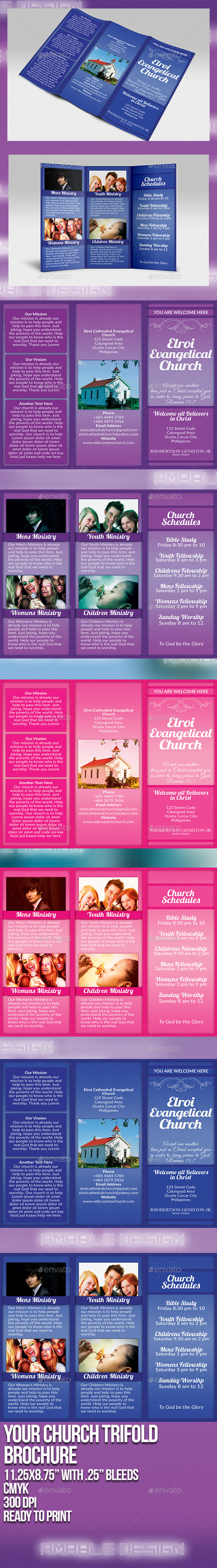 GraphicRiver Your Church Tri-Fold Brochure 9719059