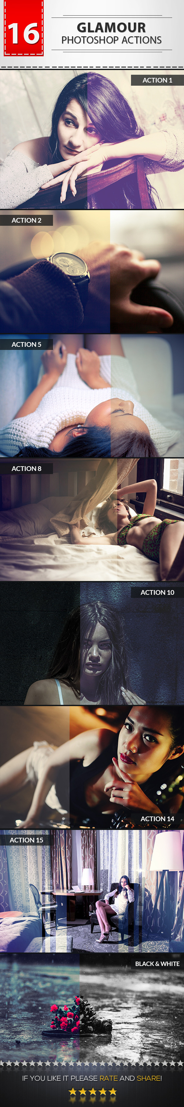 GraphicRiver 16 Glamour Photoshop Actions 9719399