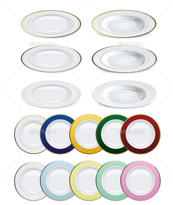 GraphicRiver Plates on White Background 9719508