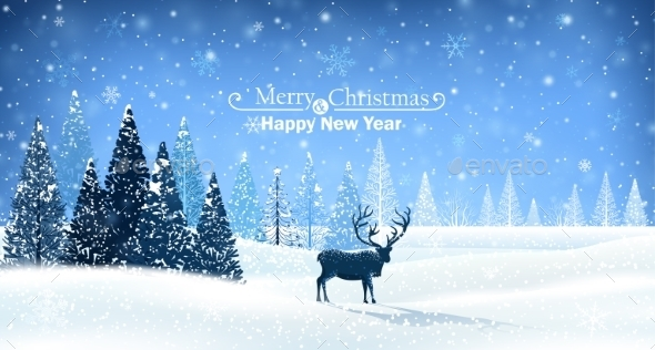 GraphicRiver Christmas Card with Reindeer 9719556