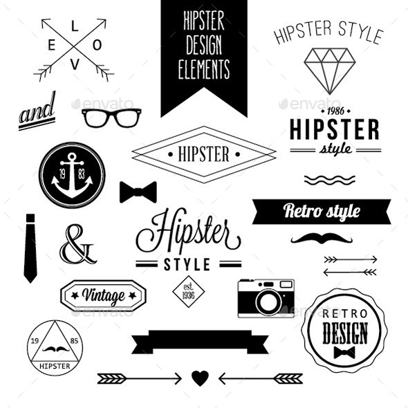 GraphicRiver Set of Hipster Design Elements and Labels 9719573