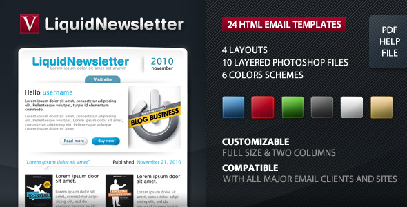 Liquid Newsletter - Email - Full size & 2 columns