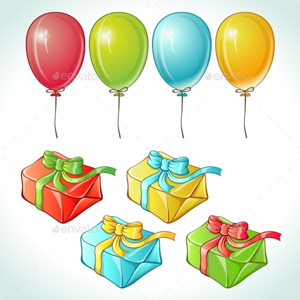 GraphicRiver Set of Colorful Balloons and Gifts 9719748
