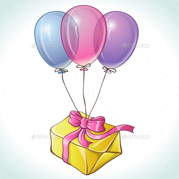 GraphicRiver Happy Birthday Card with Balloons and Gift 9719751