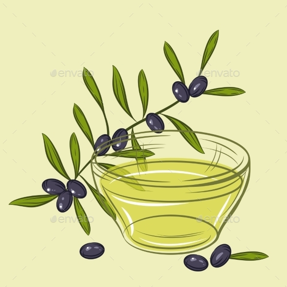 GraphicRiver Illustration with Black Olives and Cup of Oil 9719759