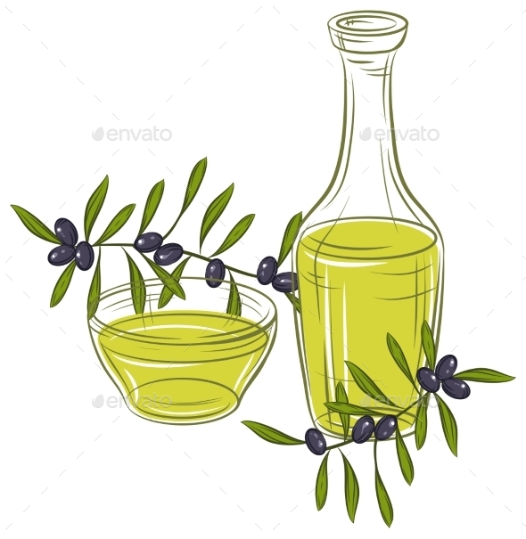 GraphicRiver Illustration with Black Olives and Bottle of Oil 9719761