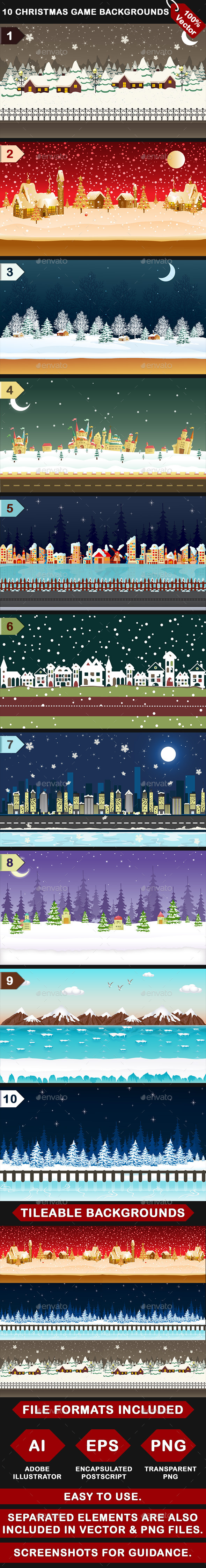 GraphicRiver 10 Vector Christmas Mobile Game Backgrounds 9719779