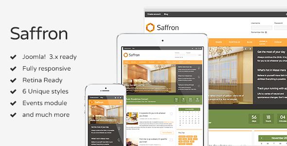 ThemeForest Saffron Responsive Joomla Template 9696343