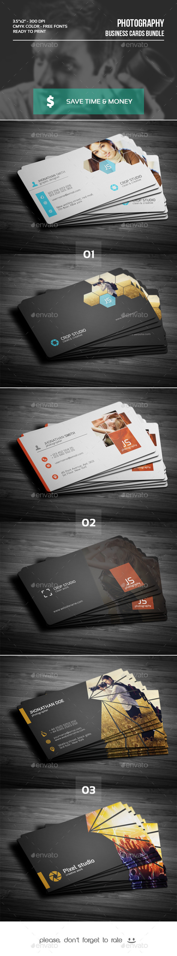 GraphicRiver Bundle Photography Business Cards 9720113