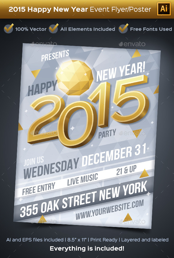 GraphicRiver New Year 2015 Party Event Flyer or Poster 9720144