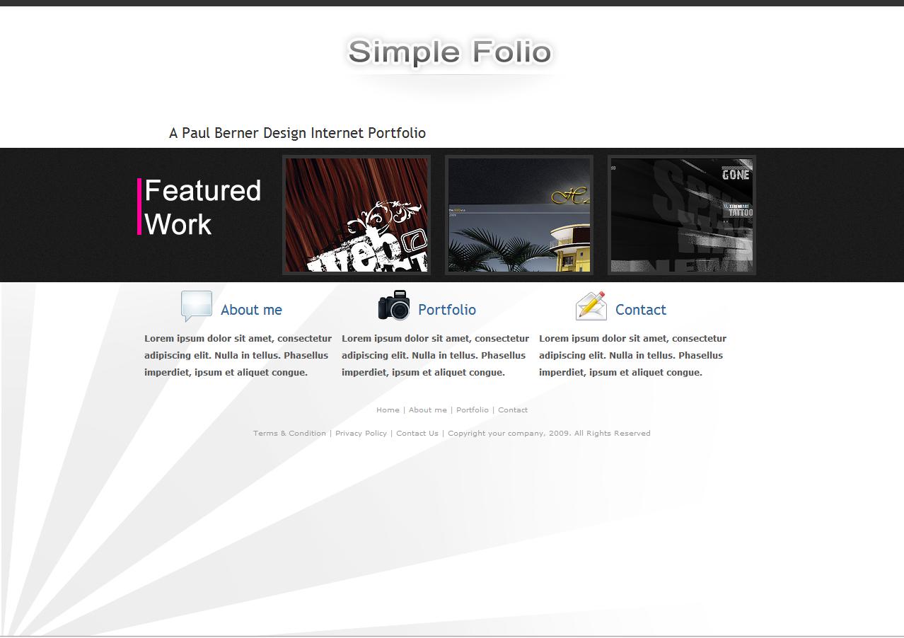 SimpleFolio - Home page.