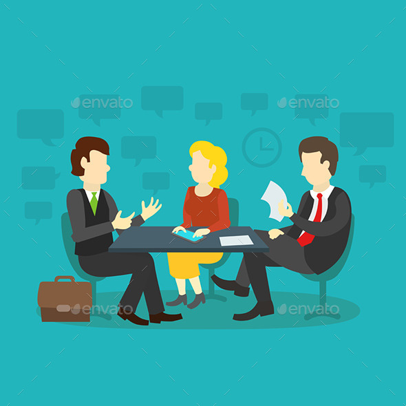 GraphicRiver Three People at the Table Interviewing 9721145
