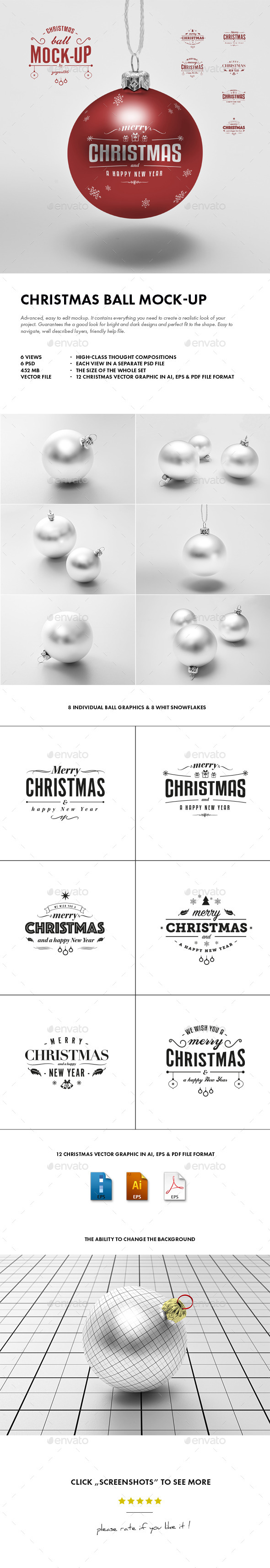 GraphicRiver Christmas Ball Mock-up 9676367