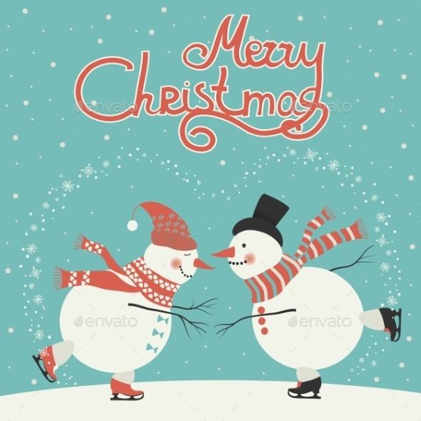 GraphicRiver Ice Skating Cartoon Snowmen 9721562