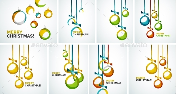 GraphicRiver Merry Christmas modern cards abstract baubles 9721720
