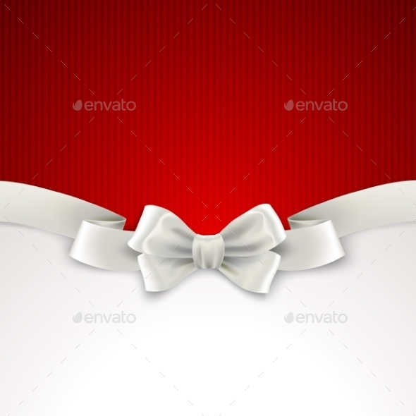 GraphicRiver Red Christmas Background with White Silk Bow 9721939
